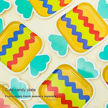 LAANCOO Platos Desechables para Festas 16 Piezas Linda Estilo Caramelo Platos de Papel Platos Pastel Ni/ños