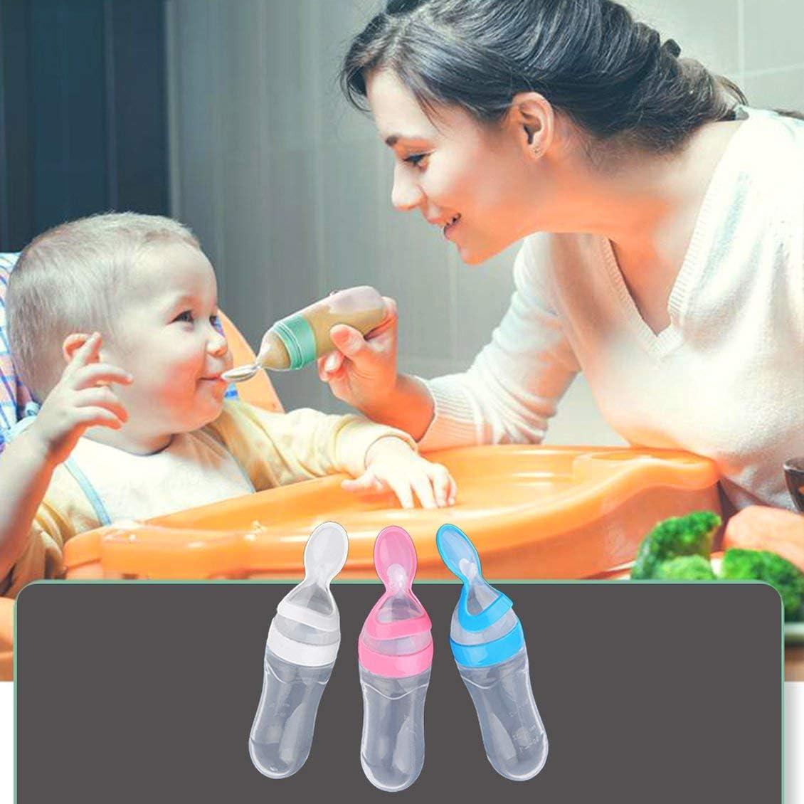 1 tama/ño Biber/ón de silicona para exprimir el beb/é con una cuchara Alimentador de cereales de arroz 90ML Alimentador de leche fresca Herramientas de alimentaci/ón