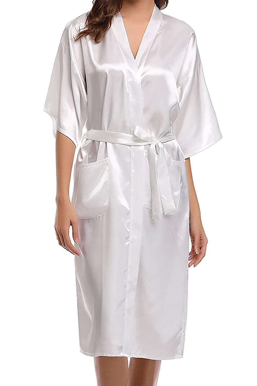 Women's Silky Satin Robe, Long Evolatree 16-005-0037-L