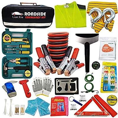 Roadside Assistance Emergency Kit - Multipurpose Emergency Pack Car Premium Road Kit Essentials Jumper Cables Set (8 Foot) Automotive Roadside Assistance 142 Pieces Winter Car Kit: Automotive