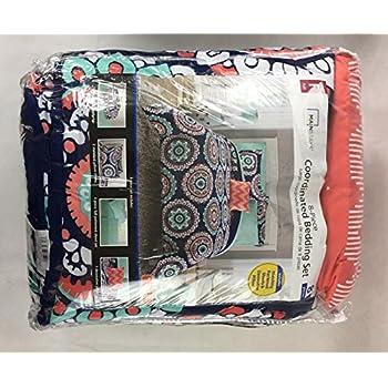 Amazon Com Mainstays Navy Medallion Bed In A Bag Full
