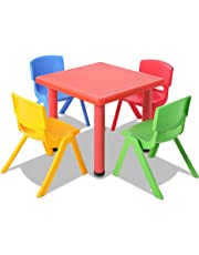 Kids Table and 4 Chairs Set Children Plastic Furniture Play Outdoor Red 5PC