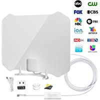 [2020 Version] TV Antenna,ANTOP Super Thin HDTV Digital Indoor Antenna Smartpass Amplifier 360 Reception Support 4K 1080p VHF UHF Free Television Local Channels 4G LTE Fliter,10ft Longer Coax Cable