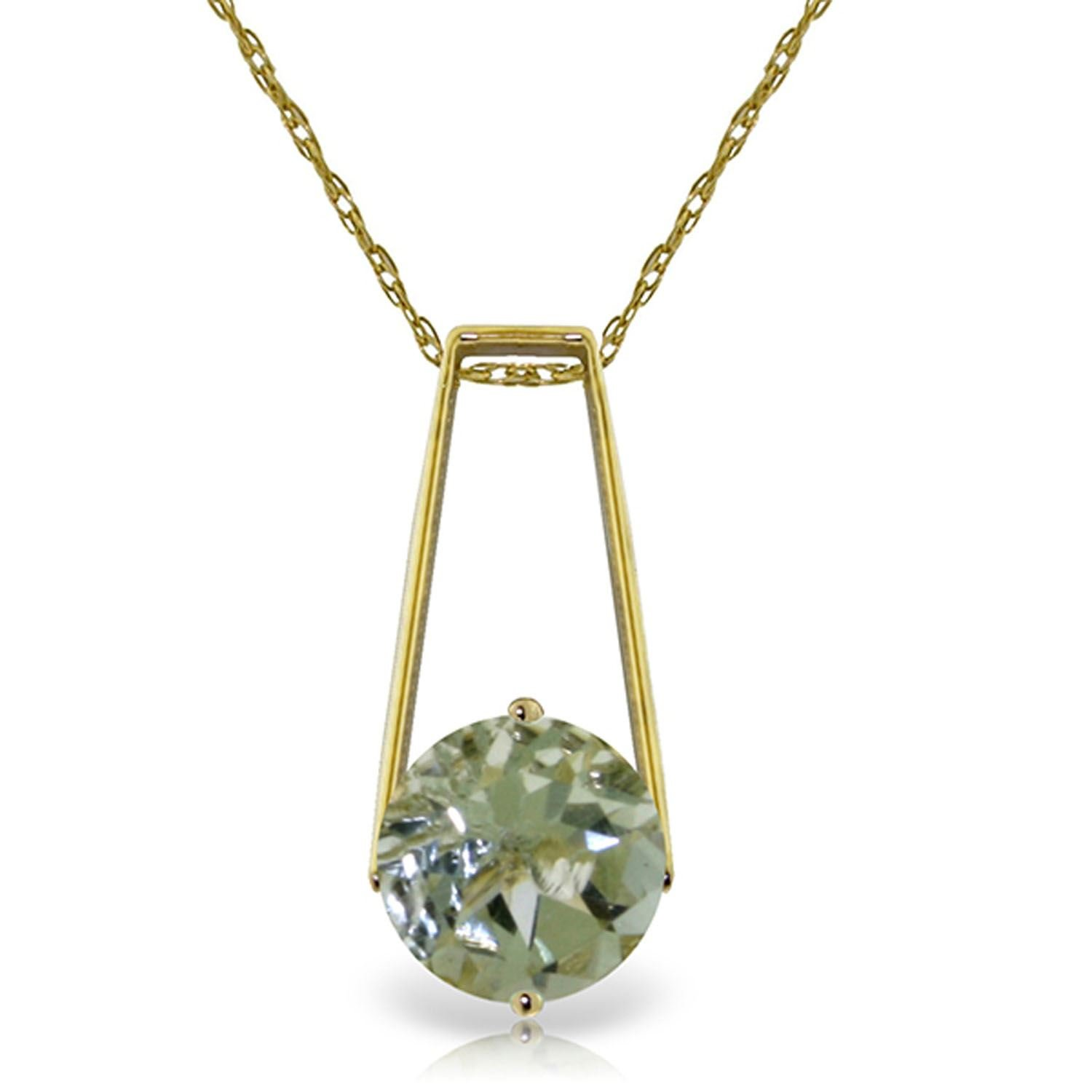 ALARRI 1.45 CTW 14K Solid Gold Boundless Moment Green Amethyst Necklace with 22 Inch Chain Length