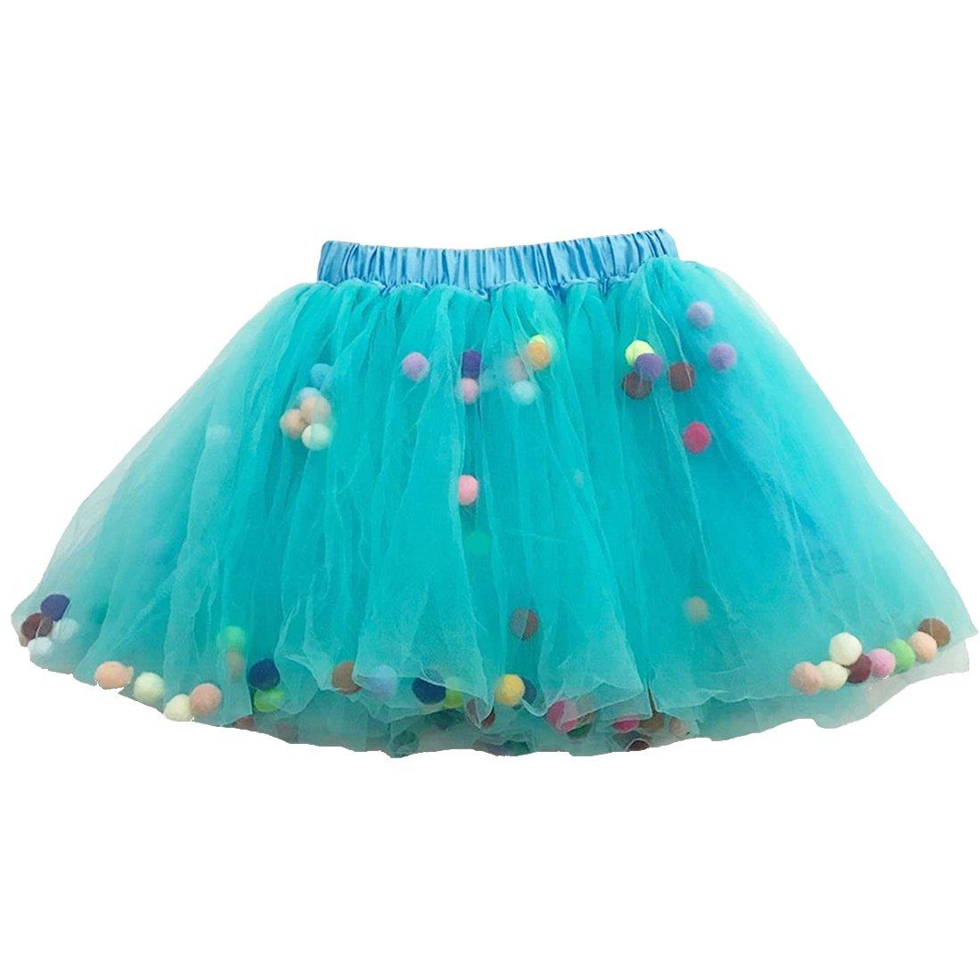 Buenos Ninos Girl's 3 Layers Sequin Ballet Dance Skirt with Pom Pom Puff Ball Dress-up Tutu Blue