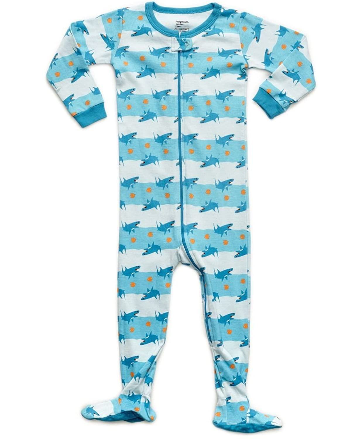 com frogmouth boys footed sleeper shark fish pajama  com frogmouth boys footed sleeper shark fish pajama 100% cotton 6 months 5 years clothing