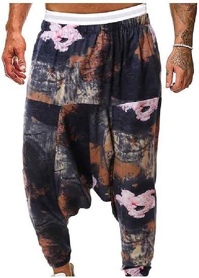 Beeatree メンズ リラックス フィット コットン リネン ハーレム パンツ エスニック スタイル レッグ パンツ