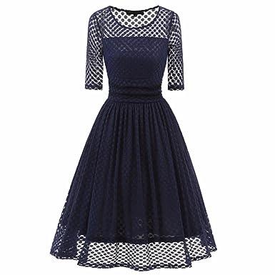 ec0ef5d26d86fe Longra Damen Abendkleid Elegant Cocktailkleid Vintage Kleider 3/4 Arm Dots Spitzenkleid  Festlich Kleid Hochzeit