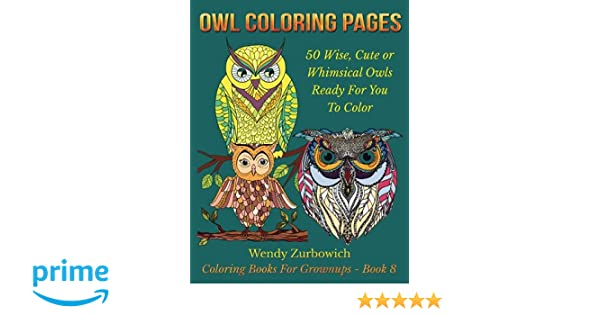 Amazon Owl Coloring Pages 50 Wise Cute Or Whimsical Owls Ready For You To Color Books Grownups Volume 8 9781536939026 Wendy