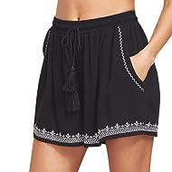 Oksale Summer Womens Loose Beach Pants High Waist Drawstring Short Pants