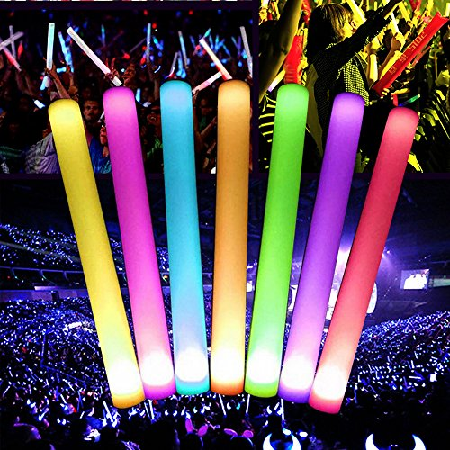 10Pcs LED Party Glow Sticks Fun,Flashing Light Effect Sticks, Color Changing Foam Baton Strobe Party Sticks Hands for Rainy Day Activities, Birthday Party Games, Halloween Costume Party (Colorful) -