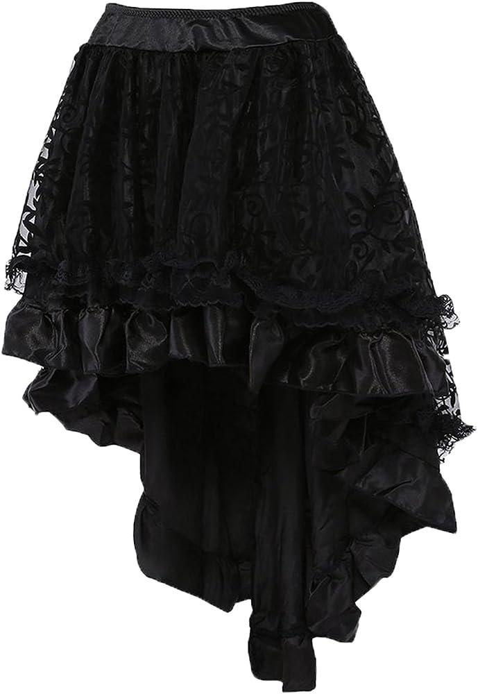 Falda mujer COSWE color negro Punk, vestido Irregular Steampunk ...
