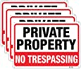 Large No Trespassing Signs Private Property Metal 10x14 Inch Rust Free Aluminum,UV Ink Printing,Durable/Weatherproof Up to 7 Years Outdoor for Home (4-Pack)