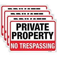 Large No Trespassing Signs Private Property Metal 10x14 Inch Rust Free Aluminum,UV Ink Printing,Durable/Weatherproof Up…