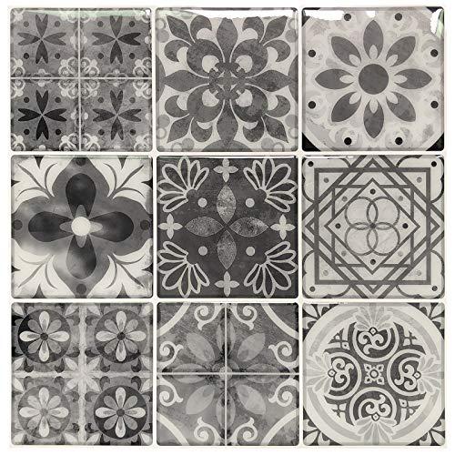 Mexican Tiles Bathroom - Peel and Stick Backsplash Tile Stickers, Gray Talavera Mexican Tiles (10 Sheets)