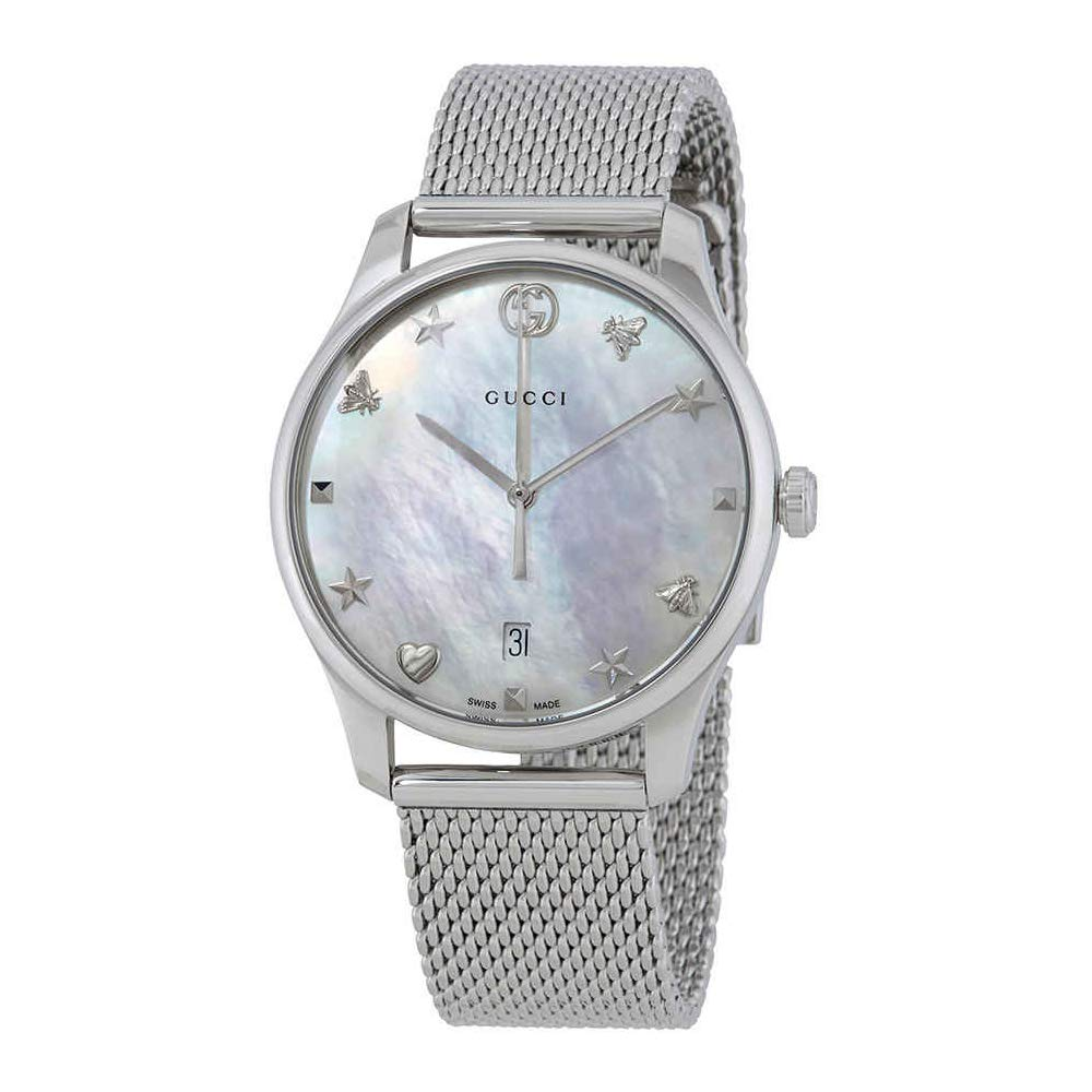 b08f6804b94 Amazon.com  Gucci G-Timeless Mother of Pearl Dial Ladies Mesh Watch  YA1264040  Gucci  Watches