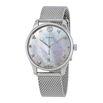 23630ecba44 Image Unavailable. Image not available for. Color  Gucci G-Timeless Mother  of Pearl Dial Ladies Mesh Watch YA1264040