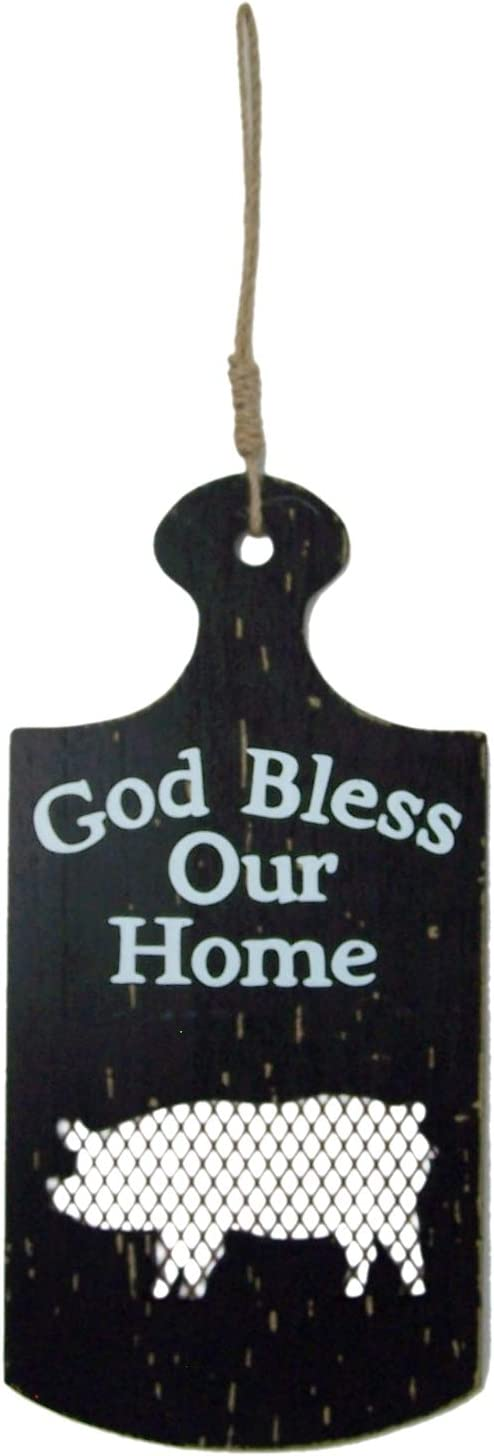 Trinity Church Supply God Bless Our Home Pig Silhouette Paddle Sign for Kitchen, Farmhouse Decor for The Home,13 Inch