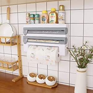 FASTIC 4-in-1 Wall-Mount Paper Towel Holder,Plastic Wrap Foil Dispenser,Wall-Mount Sauce Bottle Storage,Bathroom Organizer Storage,Shelf Adhesive Wall Mount,Rack Paper Towel Holder (Gray)