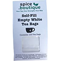 Spice.Boutique Biodegradable White Paper Self Fill Teabags, Plastic Free, Drawstring, 6x8cm, 100