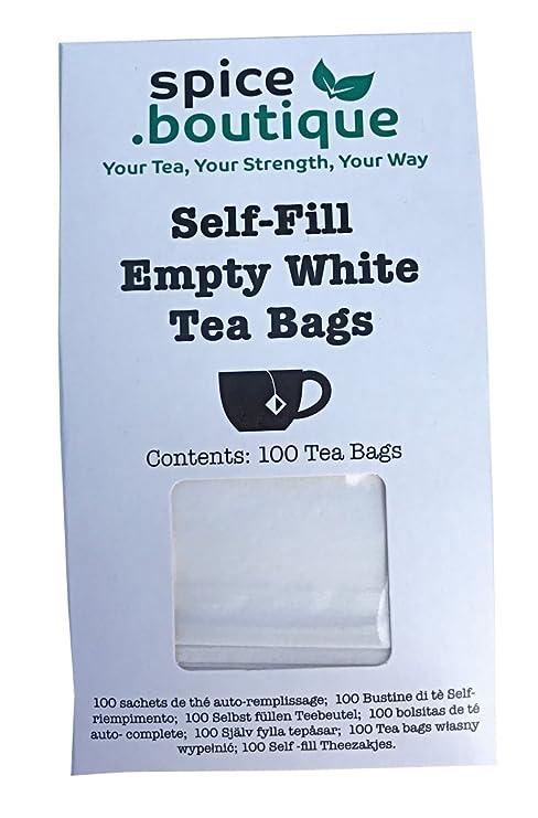 Natural y autollena bolsas de té, spice.boutique. Ideal para té de hierbas y tés de hojas sueltas. Sobres de filtro del papel (One Cup (100 bolsas de ...