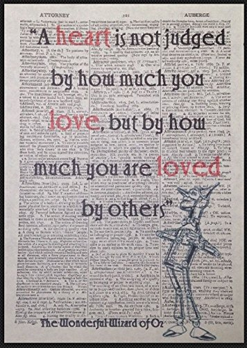 Wizard Of Oz Quote Vintage Dictionary Book Page Print Wall Art Picture Tin Man