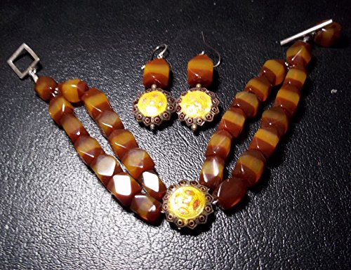 - 2-strand Carnelian Banded Agate with Metal Enamel Bracelet and Matching Earrings