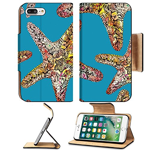 Luxlady Premium Apple iPhone 7 Plus Flip Pu Leather Wallet Case iPhone7 Plus 41071272 Watercolor illustration with orange and red starfish on sea blue background (Feather Starfish For Sale)