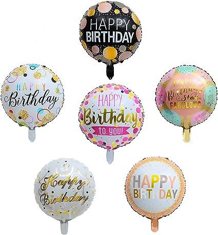 "Amazon.com: Happy Birthday Round Foil Balloons 30Pcs/set 18"" Birthday Mylar  Helium Balloon Floating, Letter Balloon Party Decorations Supplies: Toys &  Games"