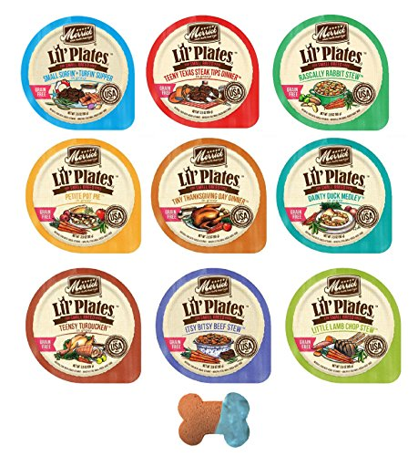 Merrick Lil' Plates Small Breed Grain Free Wet Dog Food Variety Pack, 9 Flavors, 3.5 Ounces Each (18 Pack)