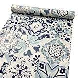 SimpleLife4U Classic Porcelain Pattern Contact Paper Waterproof Shelf Drawer Liner Self-Adhesive Cabinet Sticker 17.7 Inch By 9.8 Feet