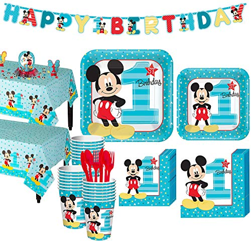 Party City 1st Birthday Mickey Mouse Party Kit for 32 Guests, Includes Table Covers, Decorating Supplies and Banners