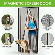 "Homitt Magnetic Screen Door with Heavy Duty Mesh Curtain and Full Frame Velcro FITS Door Size up to 36""-82"" Max"