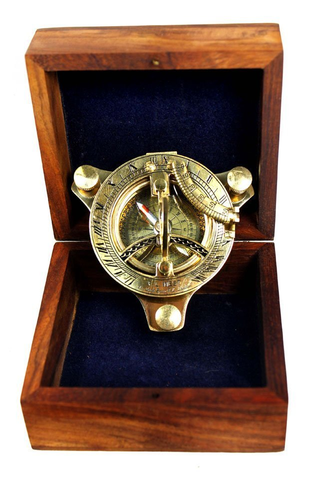 3'' Sundial Compass - Brass with Wood Box