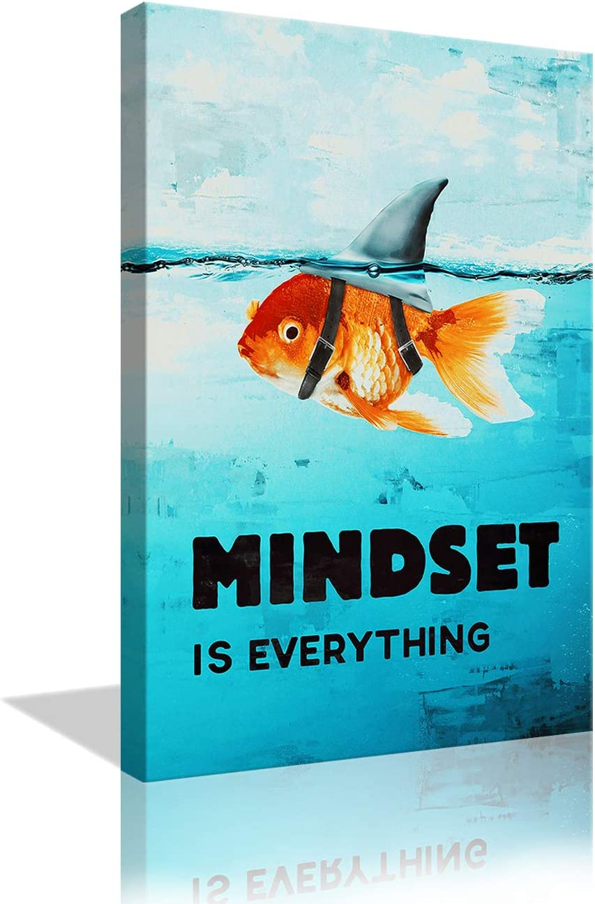 Mindset is Everything Inspirational Wall Decor Shark Goldfish Painting Prints Motivational Canvas Wall Art Modern Entrepreneur Quotes Poster for Office Living Room Framed Ready to Hang