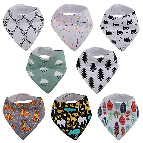 """Baby Bandana Bib for Drooling and Teething, 100% Soft Organic Absorbent Cotton, Hypoallergenic - 8-Pack """" Forest Story Set """" by Vicsou"""