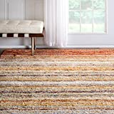 nuLOOM Handmade Striped Plush Shag Rug, 8 Feet by 10 Feet