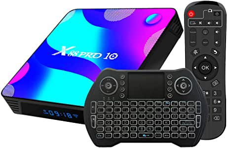 Android TV Box 10, 4GB RAM 32GB ROM Android 10 Compatible con 4K 3D, RK3318 Dual-WiFi 2.4g / 5g Smart TV Box con Mini Teclado: Amazon.es: Electrónica