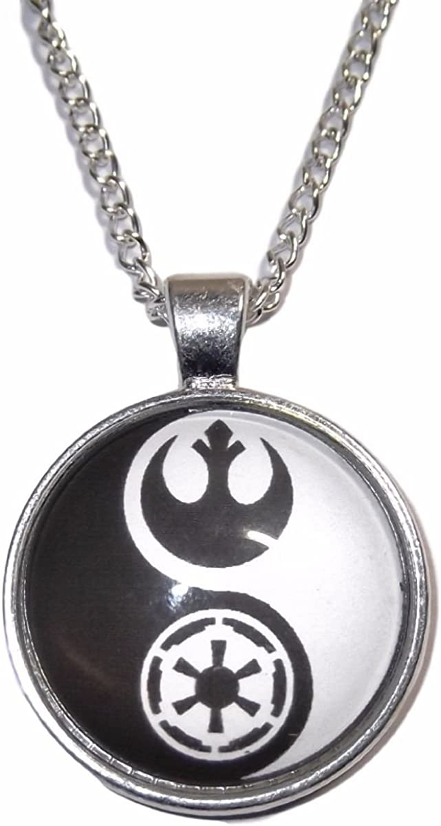 Armory Replicas Yin Yang Opposite Forces Natural World Blood Red Oriental Pewter Pendant Necklace