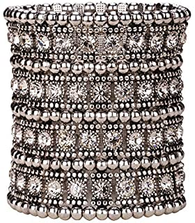 Loveangel Jewellery Women's Multilayer Crystal Wide Stretch Cuff Bracelet 7 Row fNi07