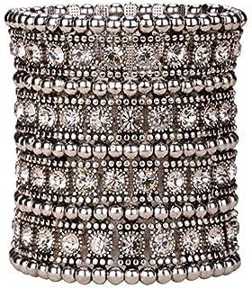 Loveangel Jewellery Women's Multilayer Crystal Wide Stretch Cuff Bracelet 7 Row