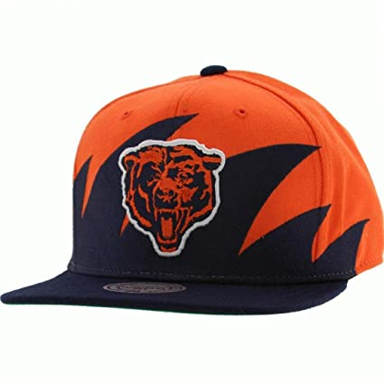 b2a1ff42836 Image Unavailable. Image not available for. Color  NFL Mitchell   Ness  Chicago Bears Navy Blue-Orange NFL Sharktooth Snapback Adjustable Hat