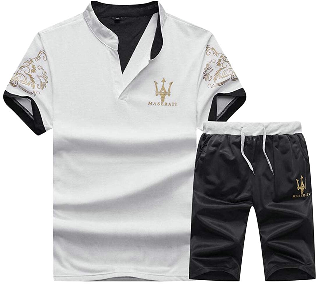 HTOOHTOOH Mens Workout T-Shirt Jogger Shorts Two-Piece Sets Running Tracksuits