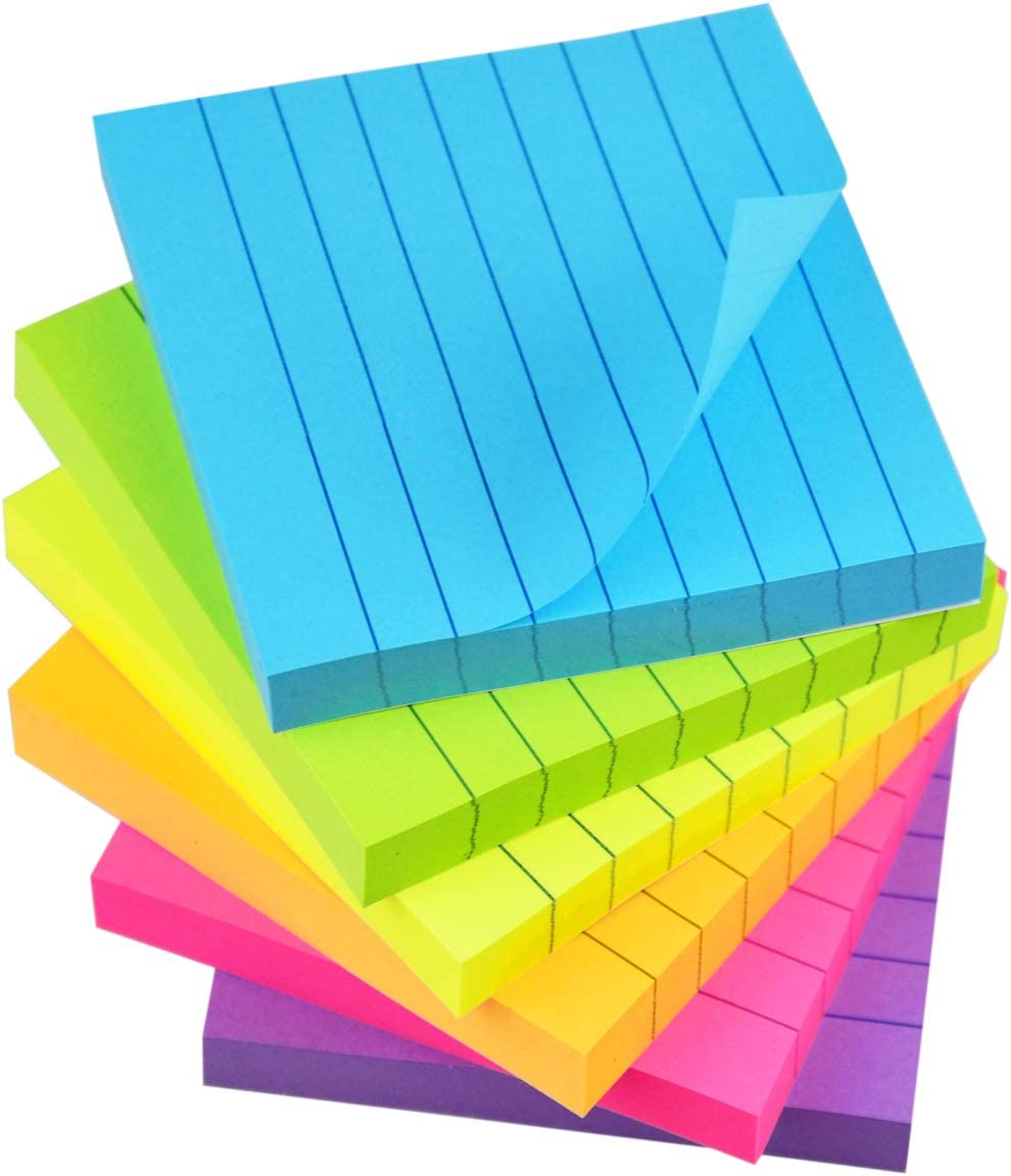 White + Kraft Paste Notes with Lines Automatically 80 Sheets//Pad 6 pcs Lined Sticky Notes Self-Stick Notes 3 in x 3 in
