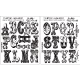 Stampers Anonymous Tim Holtz Cling Rubber Stamp, 7 by 8.5-Inch, Cirque Alphabet