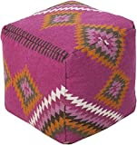 Surya POUF-201 Beth Lacefield 100-Percent Wool Pouf, 18-Inch by 18-Inch by 18-Inch, Magenta/Burnt Orange/Olive/Beige