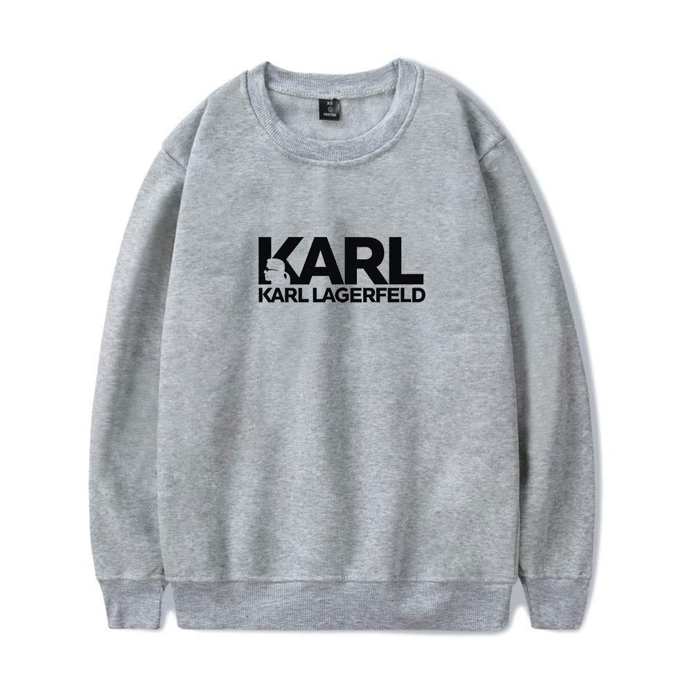 INSTO Maglione Karl Lagerfeld Stampato Felpa Casuale Sciolto Felpa con Cappuccio Unisex Semplice Selvaggio//Schwarz//M