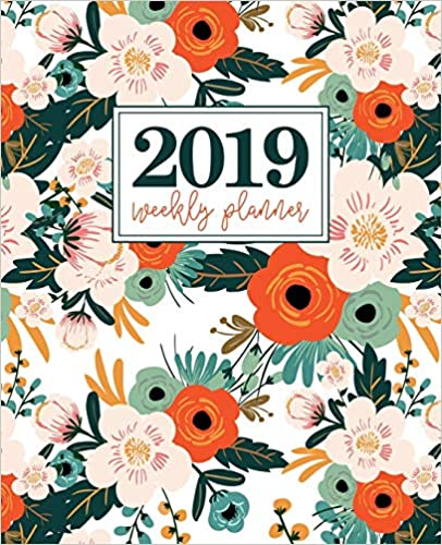 "12 Months 19x23cm 2019 Weekly Planner Weekly /& Monthly Planner Portable Format 7.5/""x9.25/"" Orange Pink /& Mint Florals 5555"