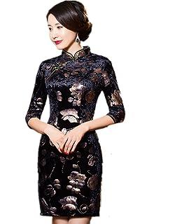 dadeabfa91 Shanghai Story Floral Cheongsam Half Sleeve Velvet Qipao Chinese Dress