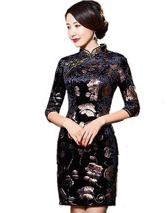 d711f073d Amazon.com: Shanghai Story Floral Cheongsam Half Sleeve Velvet Qipao  Chinese Dress: Clothing